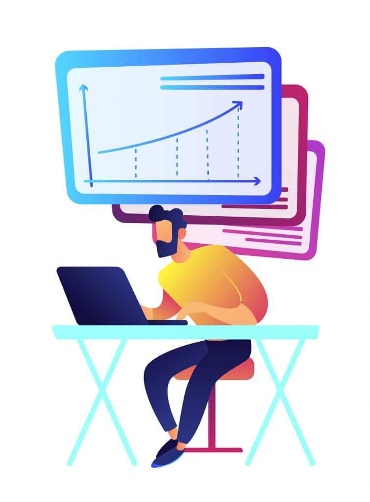 Homme d'affaires travaillant à l'ordinateur portable avec graphique en hausse