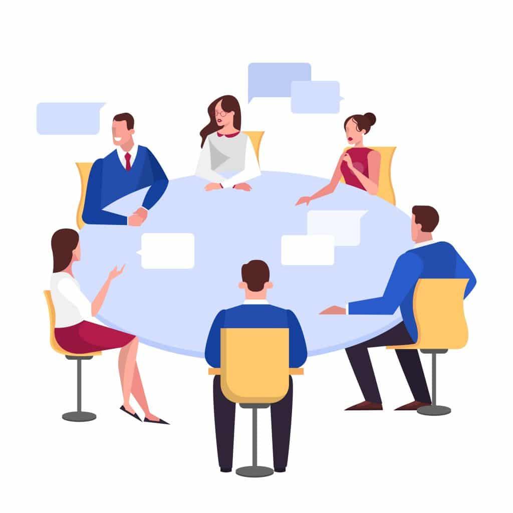 Discussion et brainstorming d'un groupe de personne autour d'une table