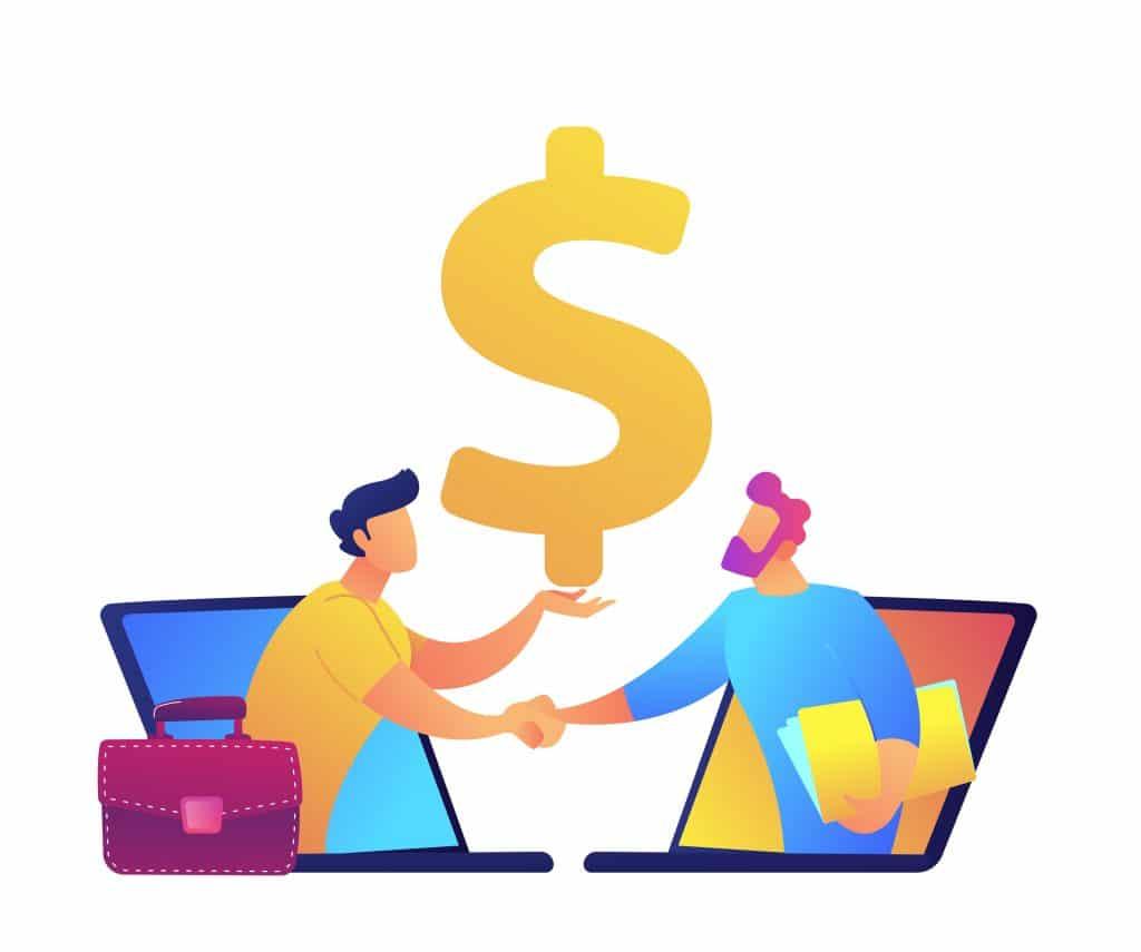 Hommes d'affaires se serrant la main avec symbole du dollar au dessus de leurs têtes