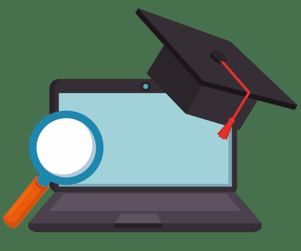 Laptop, loupe et formation diplomante